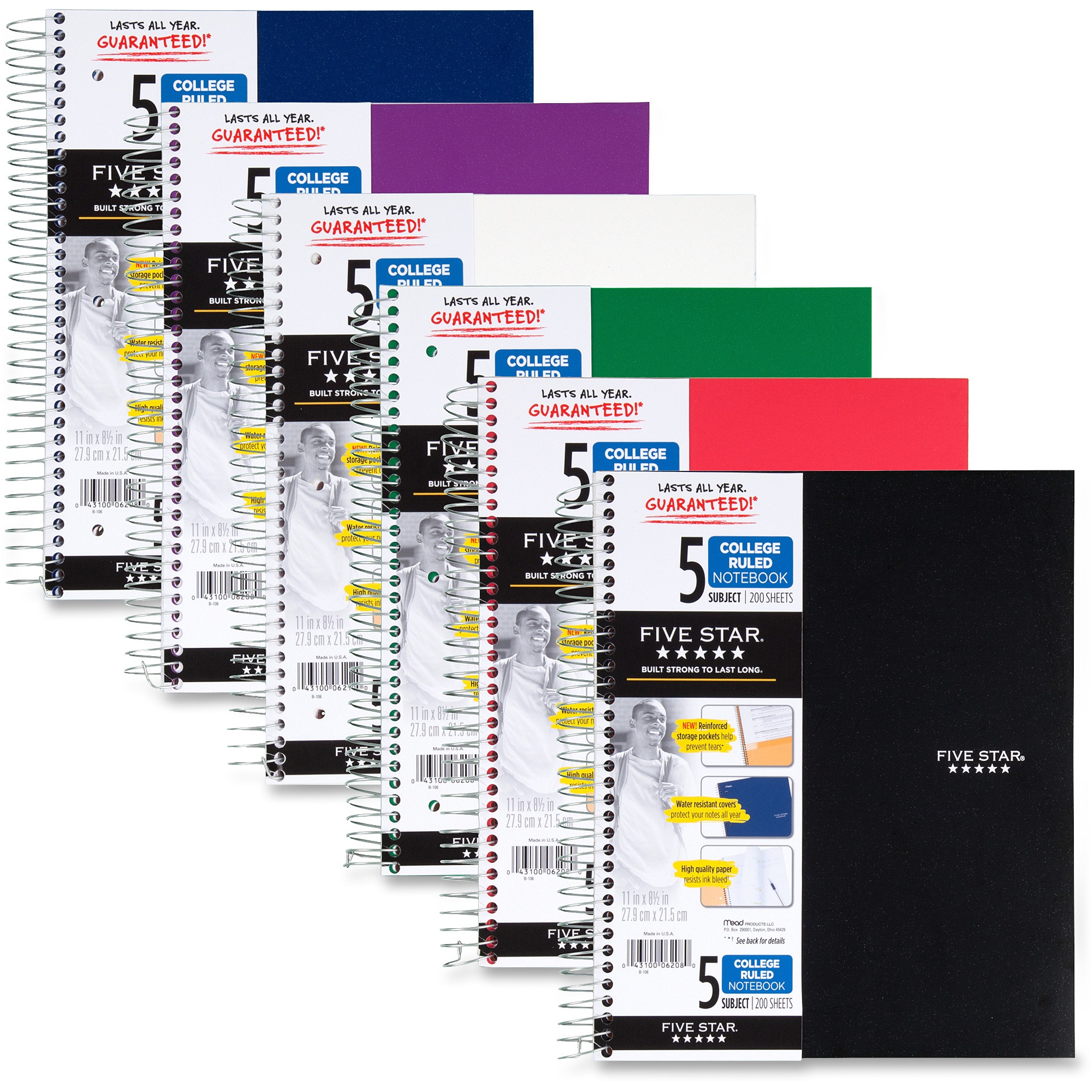 Five Star 5-Subject College Ruled Spiral Notebook (07153)