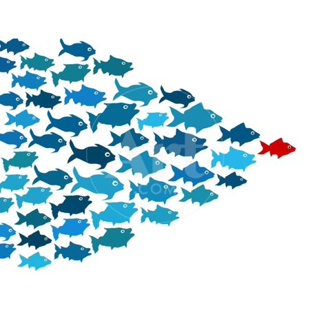 - Fishes In Group Leadership Concept Children's Animals Print Wall Art By mypokcik