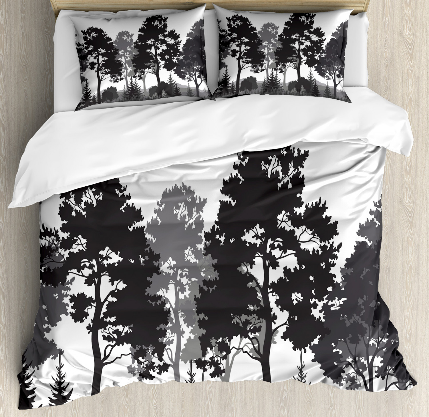 Black And White Duvet Cover Set Summer Forest With Pine And Fir Trees Grass Bush Silhouettes Decorative Bedding Set With Pillow Shams Grey White Charcoal Grey By Ambesonne Walmart Com Walmart Com