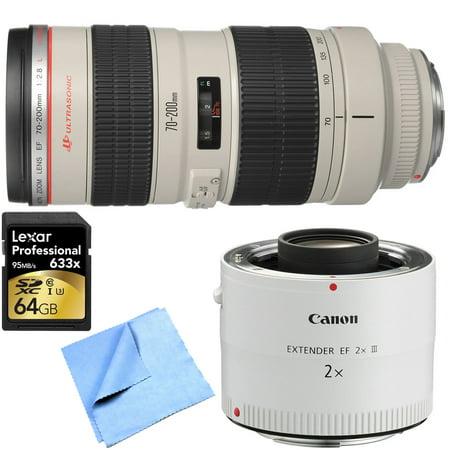 Canon Ef 70 200Mm F 2 8L Usm Lens W  Extender   64Gb Card Bundle Includes Lens  Ef 2 0X Iii Telephoto Extender  64Gb Sdxc Memory Card And Beach Camera Microfiber Cloth