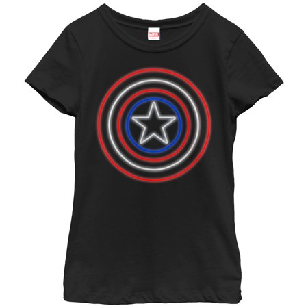 Marvel Girls' Captain America Shield Neon Light T-Shirt - Captain America Girls