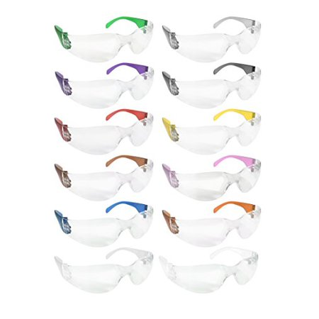 SAFE HANDLER Protective Safety Glasses, Clear Polycarbonate Impact and Ballistic Resistant Lens - Color Temple (Box of 12) - Variety Pack (Safety Glasses High Impact)