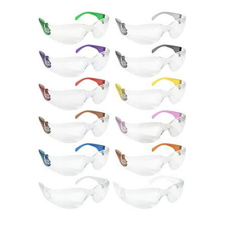 Polycarbonate Lens Safety Glasses (SAFE HANDLER Protective Safety Glasses, Clear Polycarbonate Impact and Ballistic Resistant Lens - Color Temple (Box of 12) - Variety Pack)