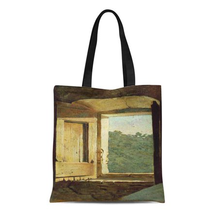 KDAGR Canvas Tote Bag Fine Window Oil on Abbati Giuseppe 1836 1868 Italy Reusable Handbag Shoulder Grocery Shopping - 1836 Oil