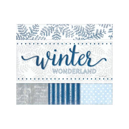 Winter Wonderland Silver Blue Print Wall Art By Jennifer Pugh - Winter Wonderland Blue