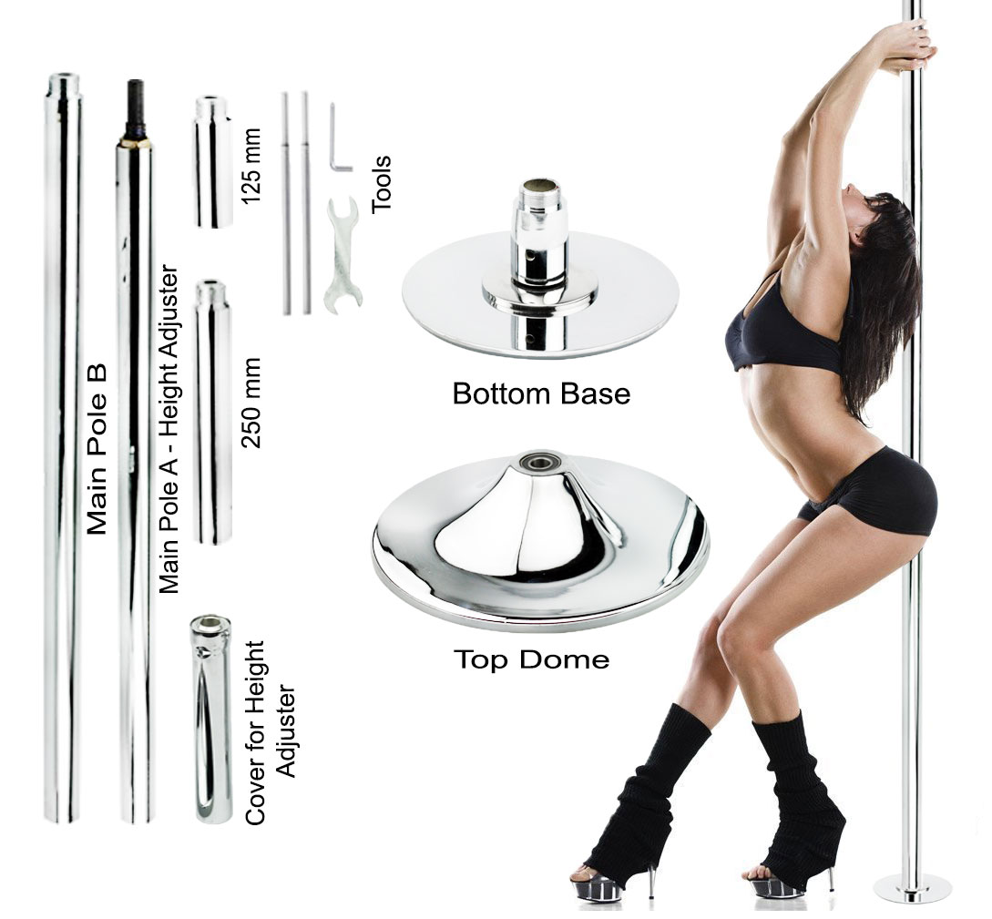 New Pro Portable Stripper Fitness Exercise Spin Spinning Professional Dance Dancing Strip Spinning Pole 45mm Gold by Wacces