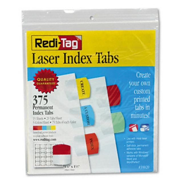 Redi-Tag 39020 Printable Laser Index Tabs  1-1/8w x 1-1/4h  Five Colors  375 Pack
