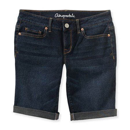 Aeropostale Juniors Cuffed Dark Wash Casual Bermuda Shorts