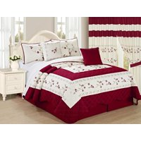 All American Collection New 6pc Embroidered Floral High Quality Bedspread/Quilt Set