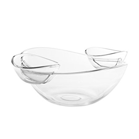 Salad Dip - Adorn Crystal Clear Plastic Chips n' Dips / Salad Bowl with 2 Detachable Dip Cups Set