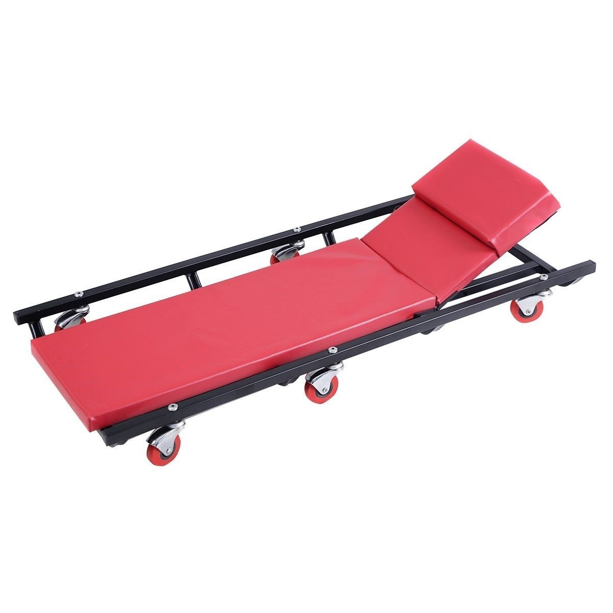 Mechanics Creeper Rolling Shop Garage Auto Car Repair Work Tool Wheels Cart, Color: Black Frame And Red Pad By BRAND NEW