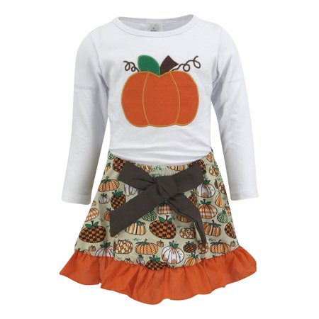 Unique Baby Girls 2 Piece Pumpkin Skirt Halloween & Thanksgiving Fall Outfit (7) (Ladies Pumpkin Outfit)