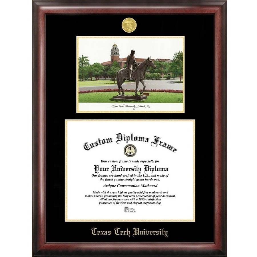 "Texas Tech University 11"" x 14"" Gold Embossed Diploma Frame with Campus Images Lithograph"