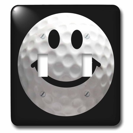 3dRose Smiley face golf ball - Happy white golfball - Golfer gift - Smilie on black background - Double Toggle Switch