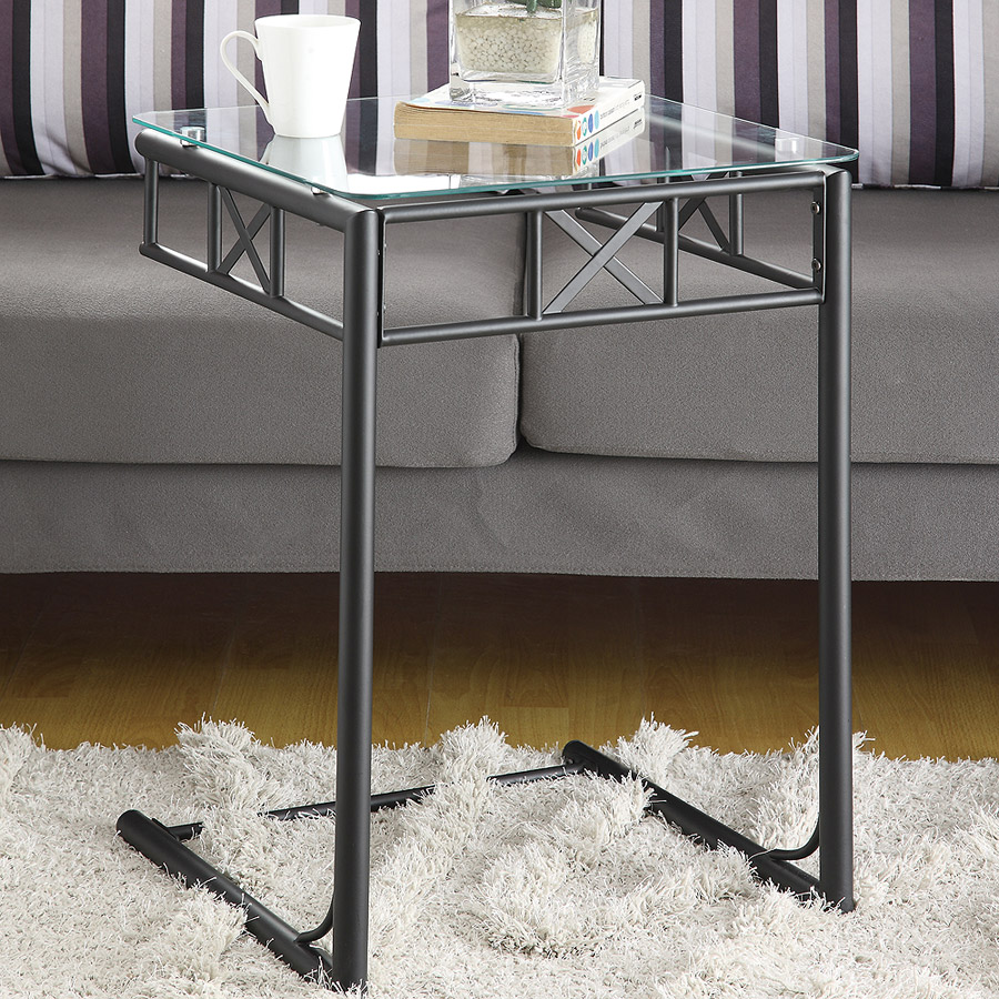 Metal Snack Table With Tempered Glass Top, Black