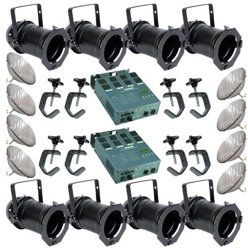 8 Black PAR CAN 64 500PAR64 NSP Bulbs C-Clamp 2 Dimmer