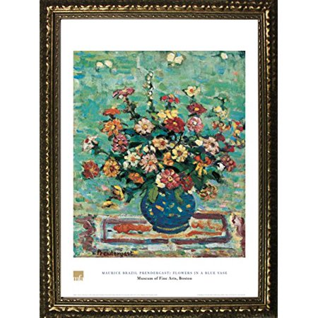 FRAMED Flowers In A Blue Vase by Maurice Brazil Prendergast 28x20 Art Print Poster Floral Still Life From Museum of Fine Arts Boston Collection