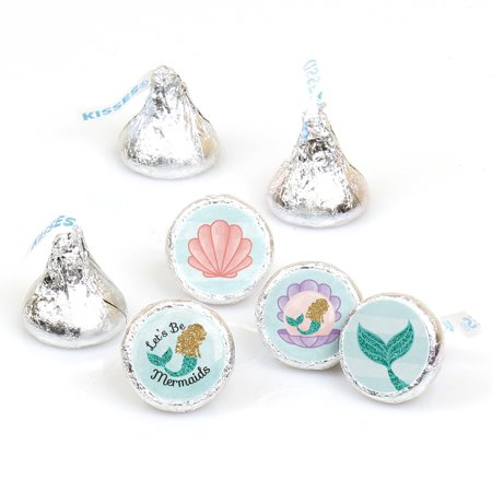 Let's Be Mermaids - Baby Shower or Birthday Party Round Candy Sticker Favors - Labels Fit Hershey's Kisses - 108 Count