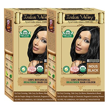 Valley Girl Hair (Indus Valley 100% Certified Organic Botanical Indus Black- Set of 2 (One Touch Pack Hair Color)