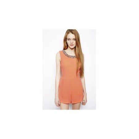 Women's Casual Orange Jumpsuit With Decorative Beaded Neck](Orange Prison Jumpsuit Womens)