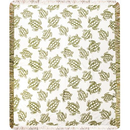 Charlotte Home Furnishings WW-8752-12265 Sea Turtle Afghan Throw, White, Cream - image 1 de 1