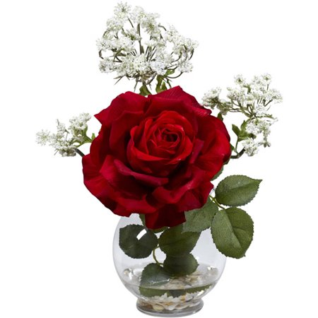 Nearly Natural Rose and Gypso with Fluted Vase Silk Flower Arrangement