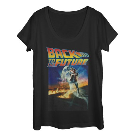 Marty Back To The Future (Back to the Future Women's Retro Marty McFly Poster Scoop Neck)
