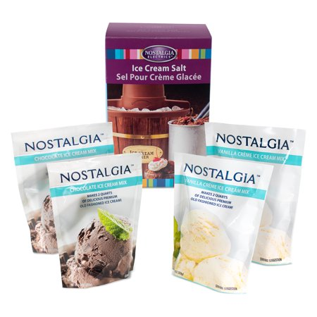 Nostalgia ICK5 Premium Chocolate and Vanilla Crème Ice Cream Starter Kit with Rock