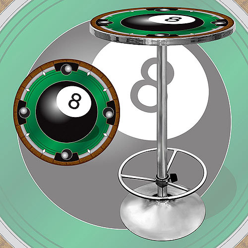 "Trademark 8-Ball 42"" Pub Table, Chrome"