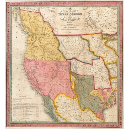 LAMINATED POSTER A New Map of Texas, Oregon and California with the Regions adjoining Compiled from the most recent authorities . . . 1846 POSTER PRINT 24 x 36 ()