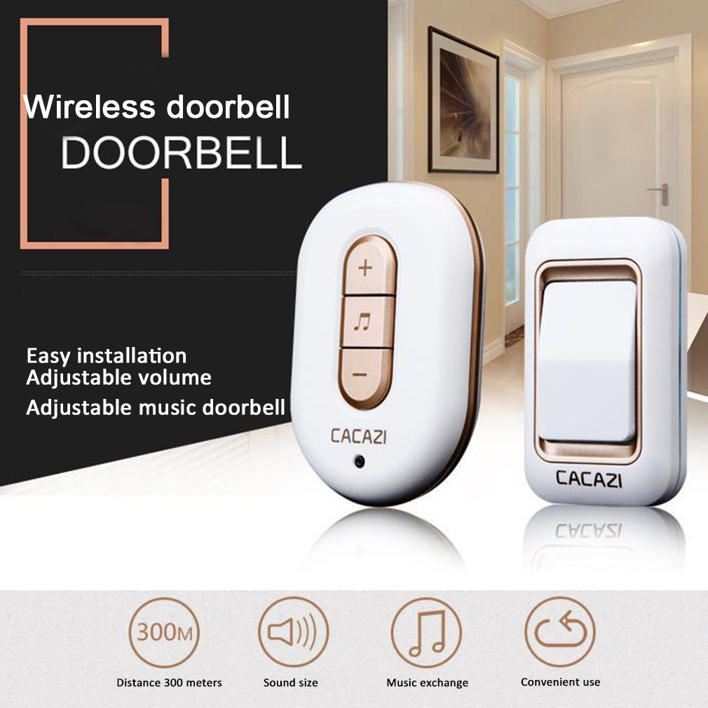 Plug-in Wireless Doorbell AC Door Ring Waterproof Button Transmitter Receiver