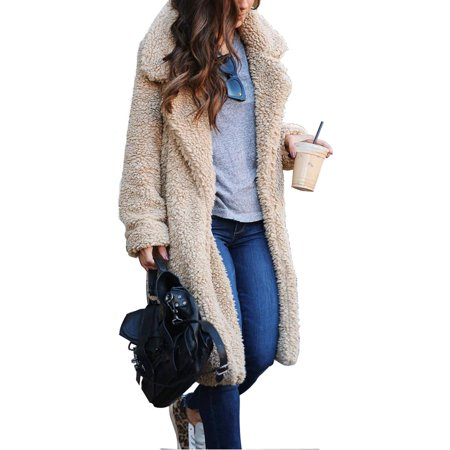 Classic Vintage Women Oversized Winter Warm Fluffy Fleece Long Trench Outwear Jacket Coat Ladies Fashion Borg Long Knee Loose Overcoat Coat Faux Fur Jacket Lapel Outwear Outfit Women Classic Fleece