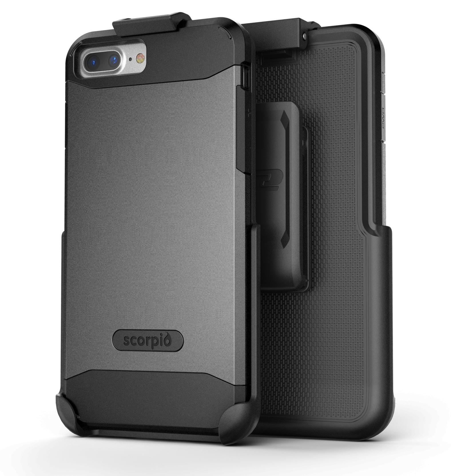 "iPhone 7 Plus (5.5"") Belt Clip Case, Premium Tough Protection w/ Holster - Scorpio R5 by Encased (Metallic Gray)"