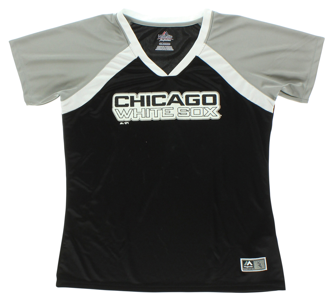 Majestic Womens Chicago White Sox W Forged Short Sleeve V-neck Top Shirts Black