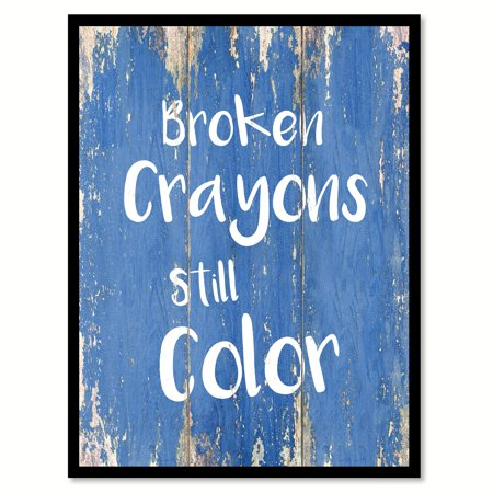 Broken Crayons Still Color Inspirational Quote Saying Blue Canvas Print Picture Frame Home Decor Wall Art Gift Ideas 13
