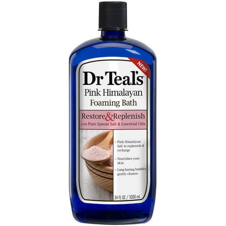 (2 pack) Dr Teal's Foaming Bubble Bath with Pure Epsom Salt and Pink Himalayan Salt, 34 oz