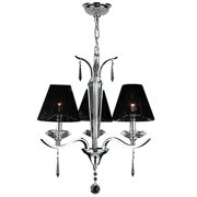 "Gatsby Collection 3 Light Arm Chrome Finish and Clear Crystal Chandelier with Black String Shade 20"" D x 23"" H Medium"