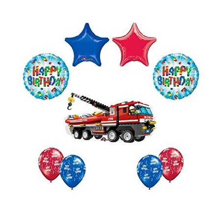 9 pc LEGO CITY Fire Engine Firetruck Birthday Party Fire Truck Balloon Kit Kit