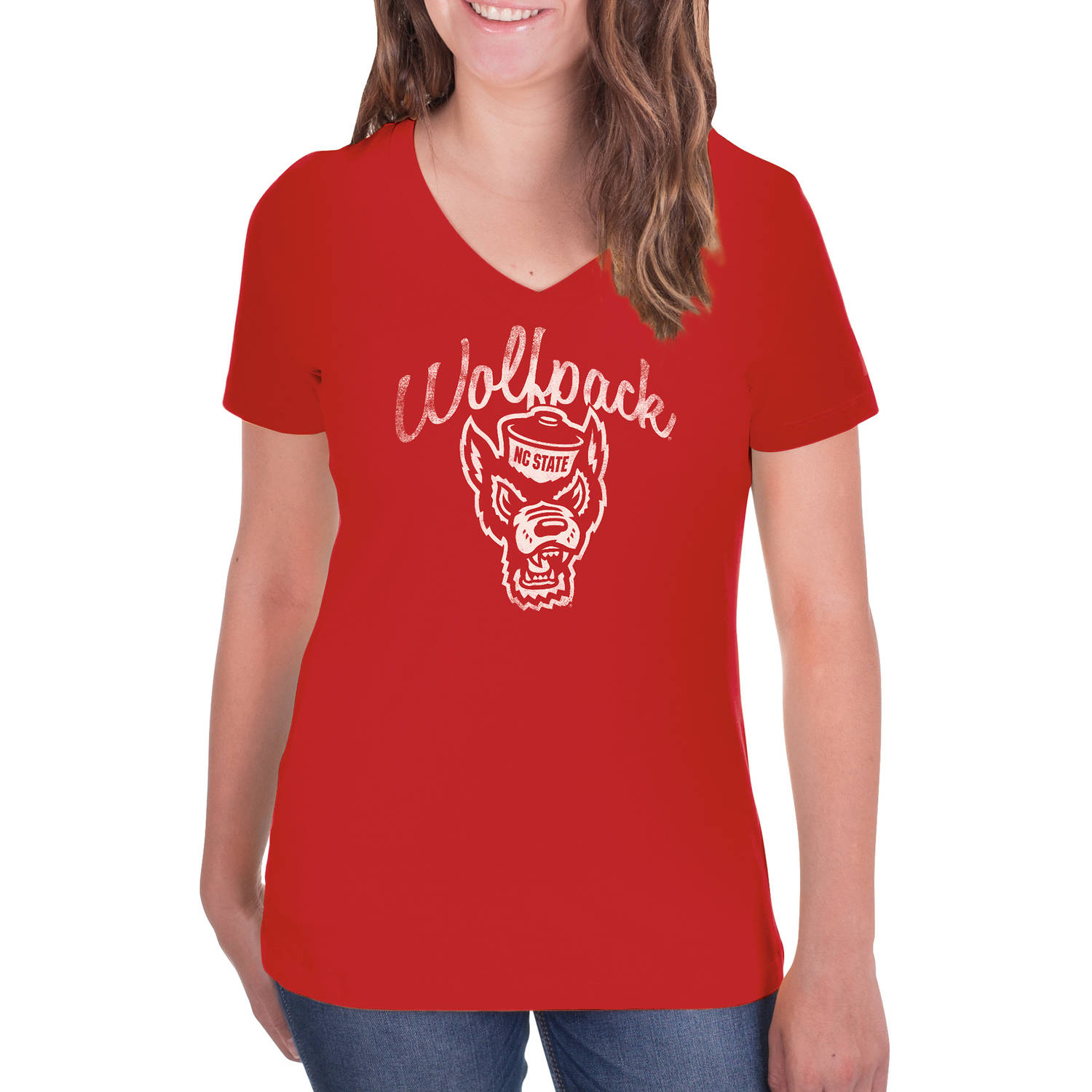 NCAA NC State Wolfpack Women's V-Neck Tunic Cotton Tee Shirt
