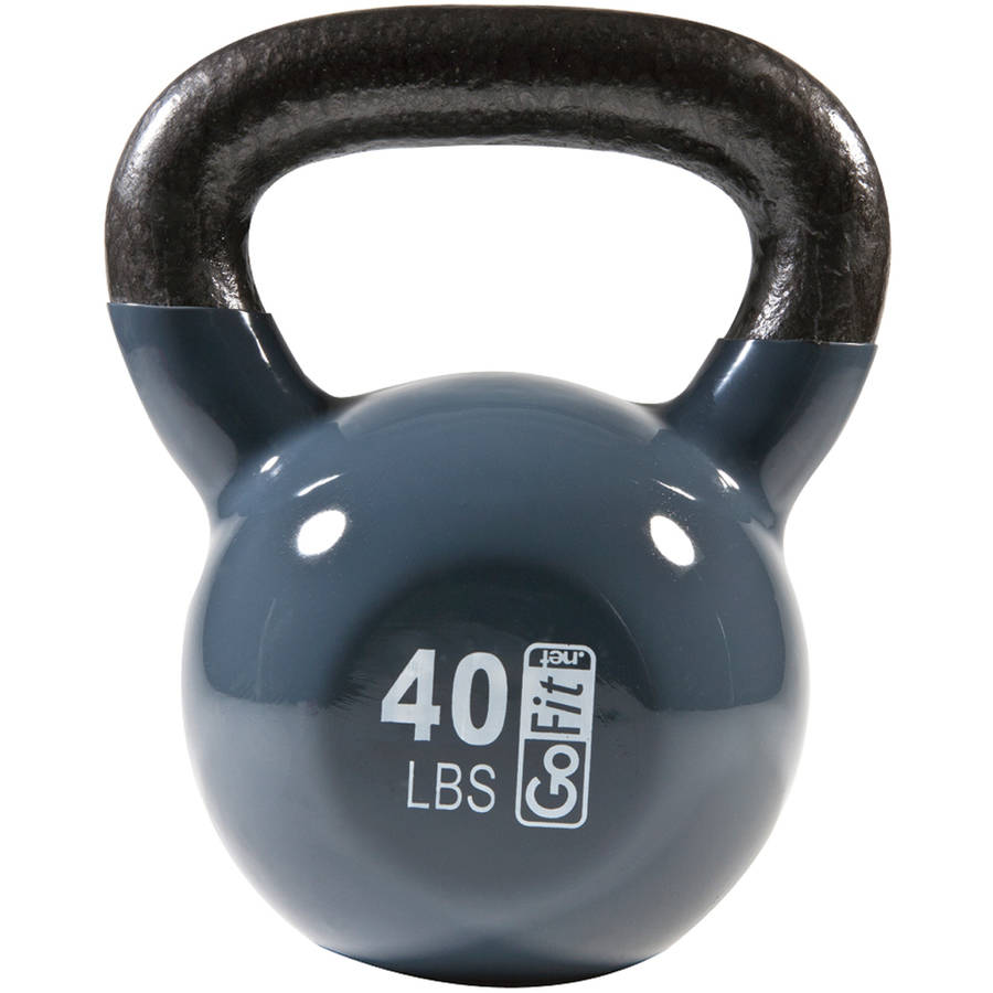 GoFit Contour Kettlebell and DVD, 40 lbs, Grey