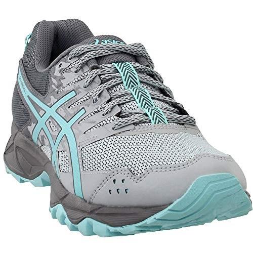 catan asics women's gel sonoma 3 trail runner, mid greyaqua splashcarbon, 8 m us