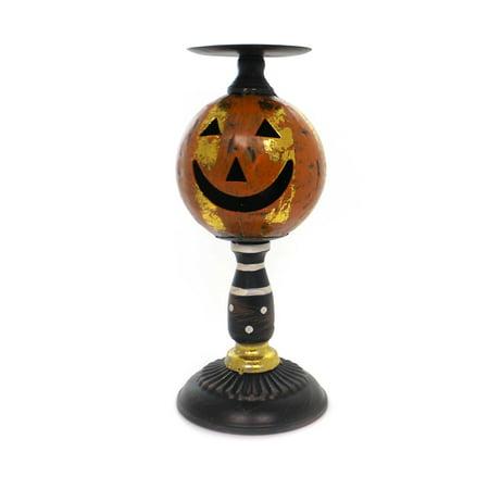 Halloween JACK O LANTERN CANDLEHOLDER SM Metal Pumpkin - Rainbow Fire Halloween Jack O Lantern