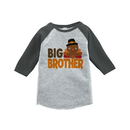 Custom Party Shop Baby Boy's Big Brother Thanksgiving Grey Raglan - Small (6-8) T-shirt - Buy Custom