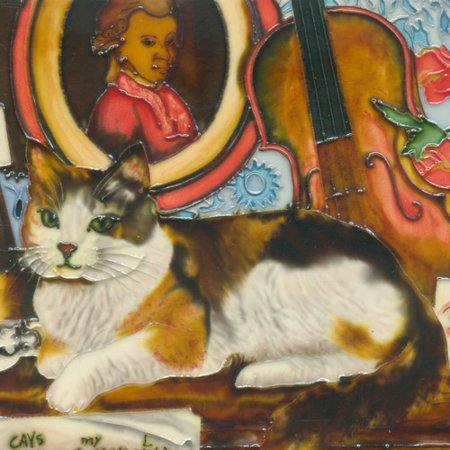 Continental Art Center Cat with Violin Tile Wall Decor