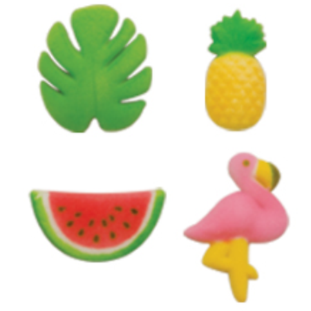 Set of 12 Tropical Summer 5/8inch - 1 1/2inch Edible Sugar Cake & Cupcake Decoration Toppers