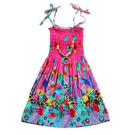 Girls Casual Summer Floral Beach Wear Boho Dress Spaghetti Strap Sundress - Casual Dress Up For Girls