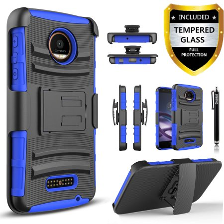 Moto Z Case, Moto Z Droid Case, Dual Layers [Combo Holster] Case And Built-In Kickstand Bundled with [Premium Screen Protector] Hybird Shockproof And Circlemalls Stylus Pen (Blue)