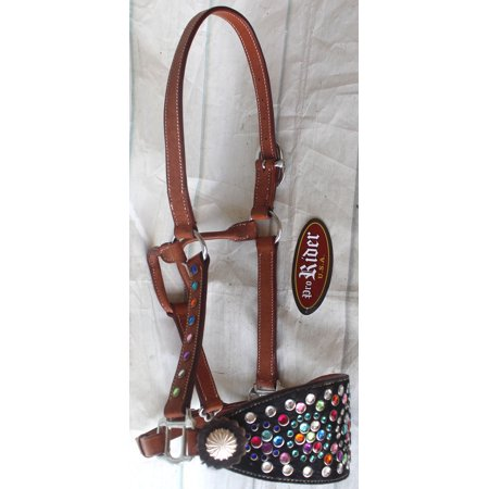 Quality Horse Halter (Horse Noseband Tack Leather Bronc Show HALTER Tiedown  28115)