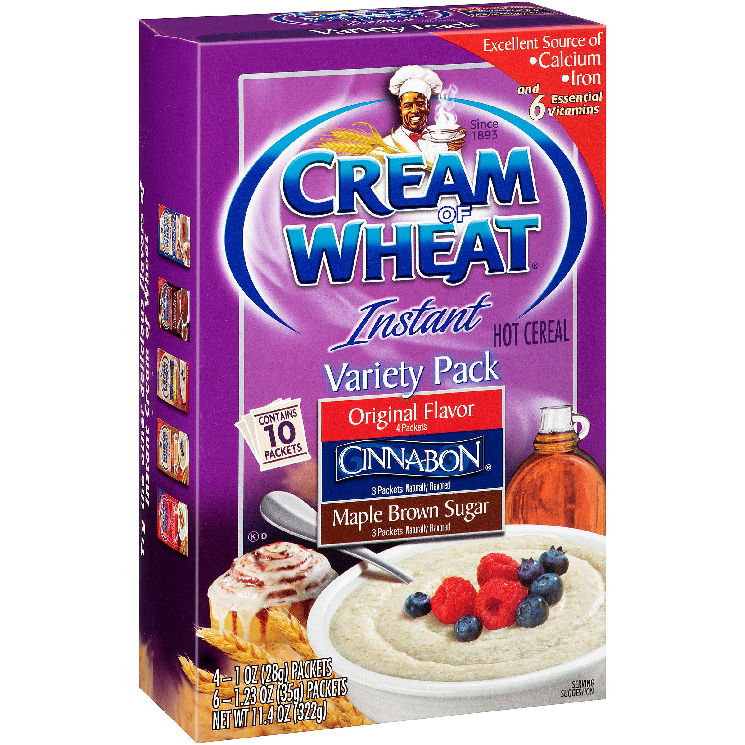 Cream Of Wheat Instant Hot Cereal, Variety Pack, 11.4 Oz, 10 Ct
