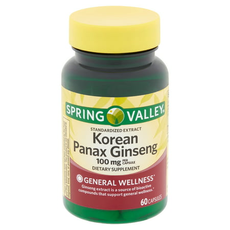 Spring Valley Korean Panax Ginseng Capsules, 100 mg, 60